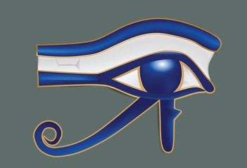 Illustration of realistic eye of Ra on gray background