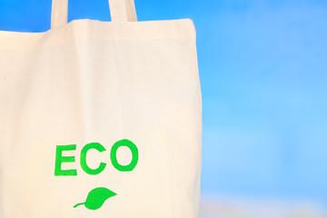 Eco bag on nature background