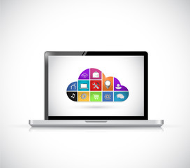 icon cloud computing computer concept