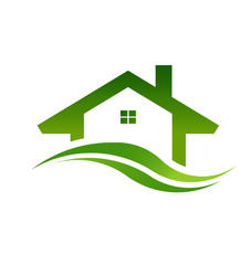 Red house real estate logo. Concept for a realty,