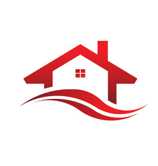Red house real estate logo image