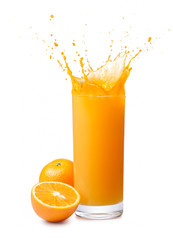 Wall Mural - orange juice splash