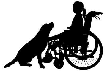 Vector silhouettes of girl in a wheelchair.