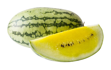Yellow watermelon on white background with clipping path