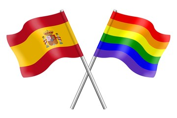 Flags : Spain and rainbow