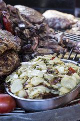barbecue with sausages and lamb in a medieval fair, Spain