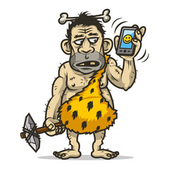 Neanderthal man holds mobile phone