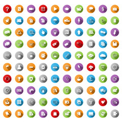 100 VECTOR BUTTONS (icons poster business marketing e- shopping)
