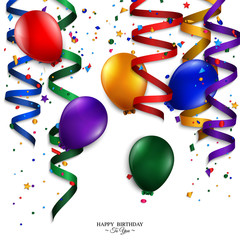 Vector birthday card with curling stream, confetti, balloons.