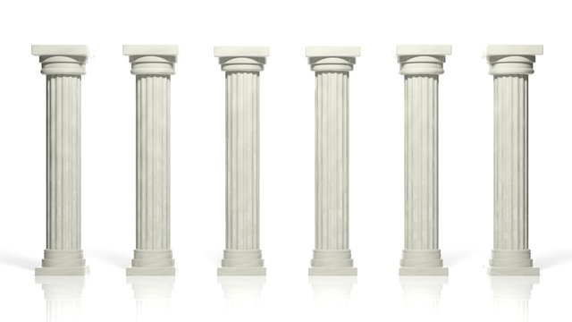 Ancient marble pillars in a row isolated on white