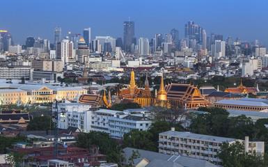 Urban City Skyline, with Grand Palace, Bangkok,Thailand.