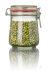 Erbsen in einem Einmachglas