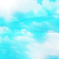 blue sky and clouds on paper background