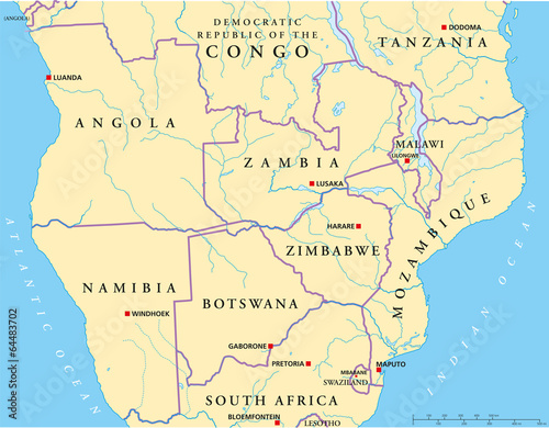 South Central Africa Map Ancora Store