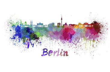 Berlin skyline in watercolor