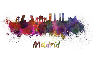 Madrid skyline in watercolor