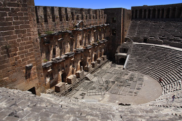 Open old circle theater Aspendos in Antalya,