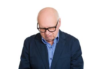 Portrait upset depressed old man isolated on white background