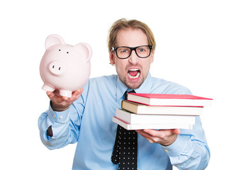 Cost of higher education, stressed student holding books piggy