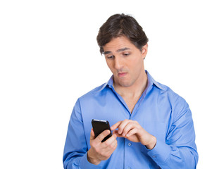 man engrossed with his phone isolated white background