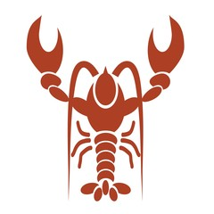 silhouette of red lobster
