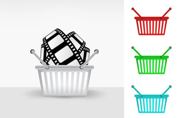 movie tape in shopping basket colorful set concept vector