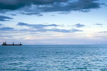 Sea at sunrise in Gursuf with boat