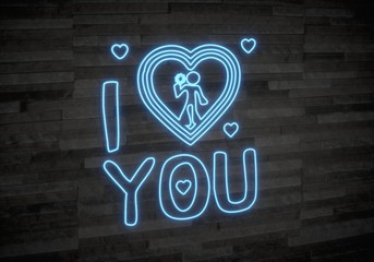 3d render of a childish I love you sign on classy stone wall