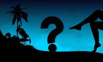 question symbol on a beach