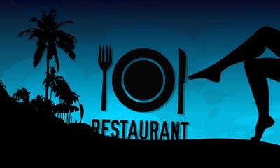restaurant sign on a beach