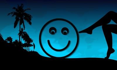 smile sign on a beach