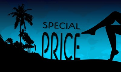 special price sign on a beach