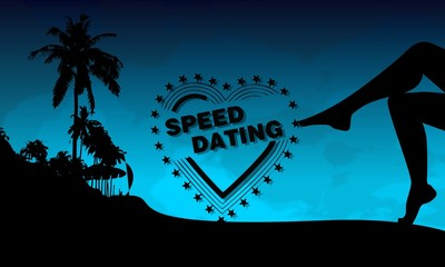 speed dating symbol on a beach
