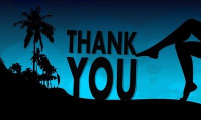 thank you symbol on a beach