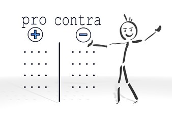 stick man presents pro contra symbol