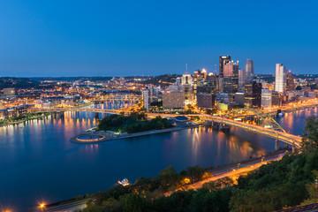 Aluminium Prints Los Angeles Pittsburgh downtown skyline at night, pennsylvania, USA