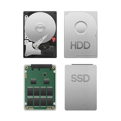 Fototapeta paper cut of hard disk drive vs ssd isolated is data storage equ obraz