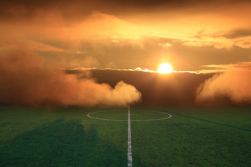 soccer field with sunbeam sport game background