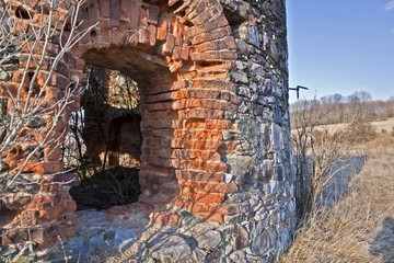 Wall of the old damaged bricks