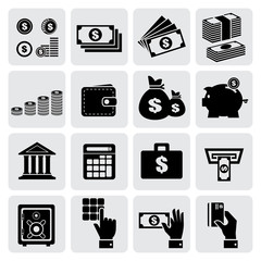 Finance and money icons set, Vector illustration