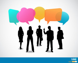 Business people icons with talking speech bubbles