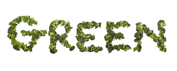 """word """"green"""" written with broccoli"""
