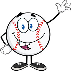 Baseball Ball Cartoon Mascot Character Waving For Greeting