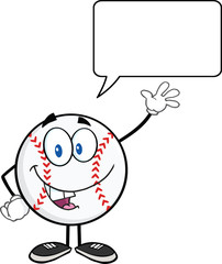 Baseball Ball Character Waving For Greeting With Speech Bubble