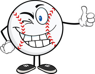 Winking Baseball Ball Cartoon Character Holding A Thumb Up