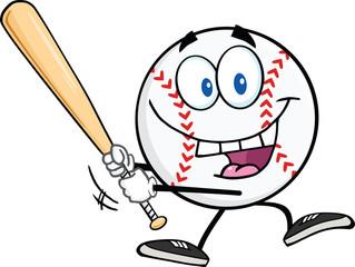 Happy Baseball Ball Swinging A Baseball Bat