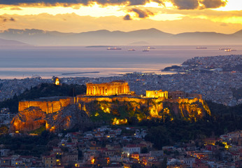 Printed roller blinds Athens Athens, Greece. After sunset. Parthenon and Herodium constructio