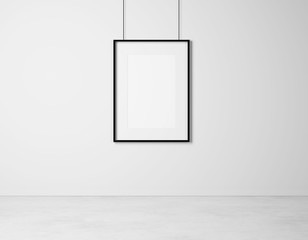 blank picture frame on a white wall