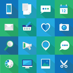 set of flat design icons for business websites and mobile phones