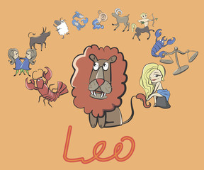 collection of cartoon zodiac signs headed lion